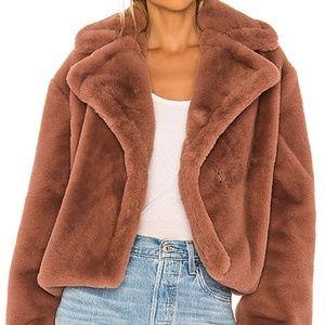BB Dakota Plush Faux Fur Jacket Rose Taupe NWT